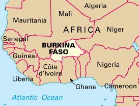 Burkina Faso na karti zapadne Afrike
